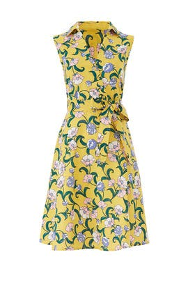 Yellow Floral Faux Wrap Dress by Moon River