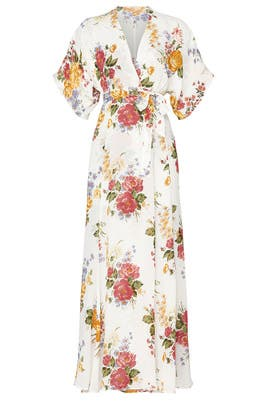 White Floral V-Neck Maxi by Reformation