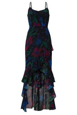 Ruffle High Low Dress by Badgley Mischka