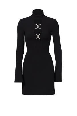 Black Ripple Keyhole Dress by David Koma
