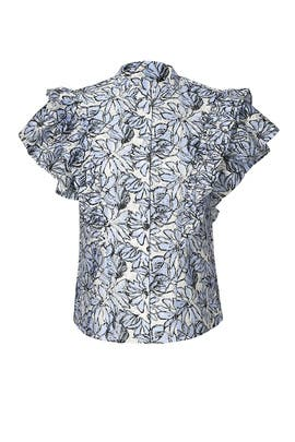 Blue Floral Ruffle Top by Dina Agam