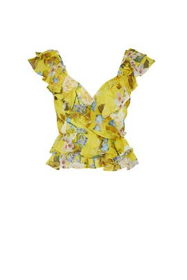 Yellow Floral Ruffle Top by Marissa Webb Collective