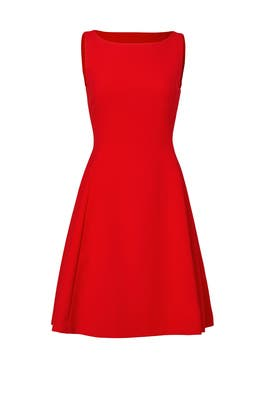 Red Open Neck Dress by Pink Tartan
