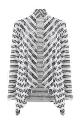 Grey Amie Cozy Stripe Cardigan by B Collection by Bobeau