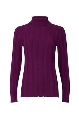 Purple Ribbed Turtleneck by Derek Lam Collective