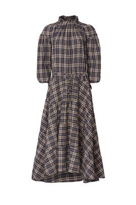 Plaid Tie Waist Tiered Dress by TEIJA