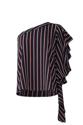Stripe One Shoulder Blouse by Great Jones