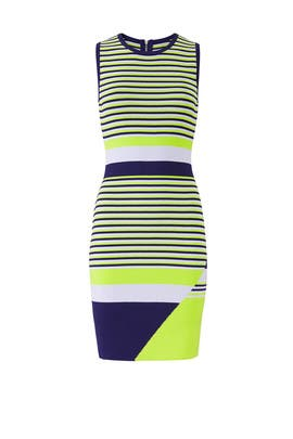 Lime Striped Lucy Knit Dress by John + Jenn