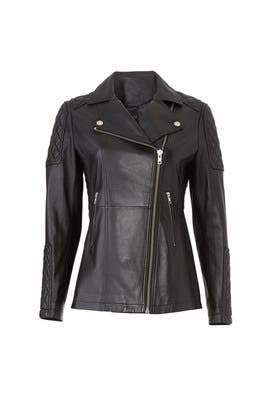 aaa575d8b55 Black Leather Belted Moto Jacket by The Kooples for $200 | Rent the ...