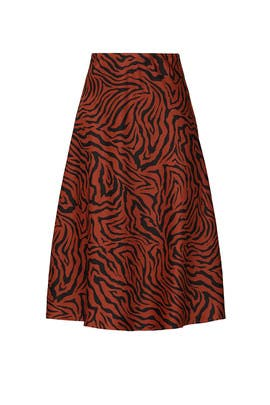 Brown Zebra Satin Midi Skirt by Sweet Baby Jamie