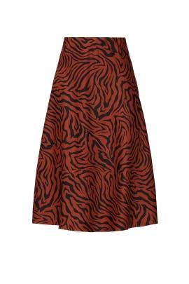Brown Zebra Satin Midi Skirt by Sweet Baby Jamie
