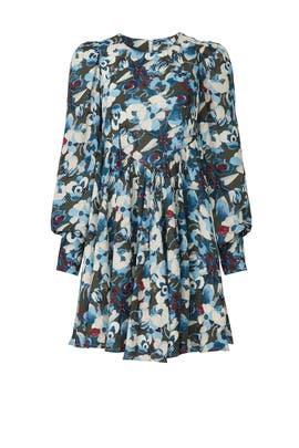 Blue Floral Empire Dress by Peter Som Collective