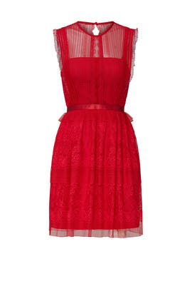 Red Tiered Fearless Dress by Three Floor