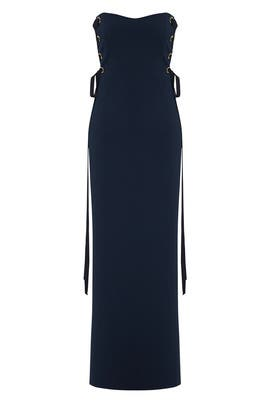 Navy Grommet Gown by Badgley Mischka