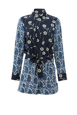 Navy Porcelain Patchwork Romper by Derek Lam 10 Crosby