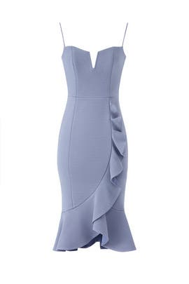 Dusty Blue Faux Wrap Dress by Nicholas