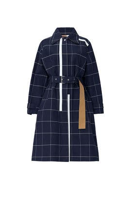 Navy Windowpane Trench Coat by 3.1 Phillip Lim