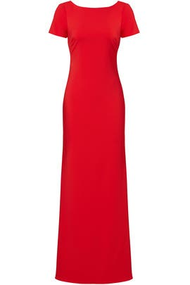 Red Cascade Gown by Badgley Mischka