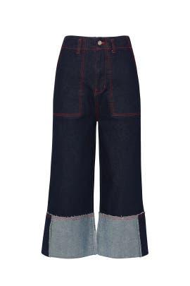 Dark Blue Wide Leg Jeans by SJYP