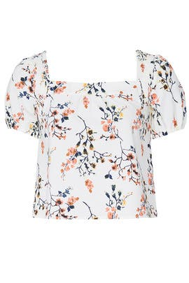 White Floral Puff Sleeve Top by Louna