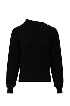 Black Foldover Sweater by Milly