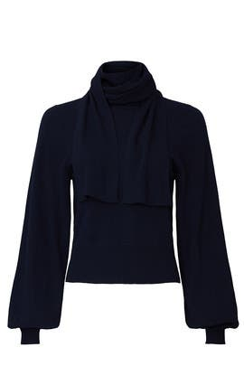 Blue Knit Bow Sweater by See by Chloe