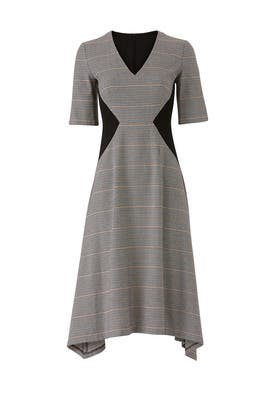 Contrast Plaid Dress by Donna Morgan