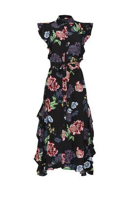 Black Floral Button Down Dress by Marissa Webb Collective
