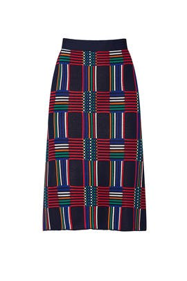 Navy Check Jacquard Skirt by Tory Sport