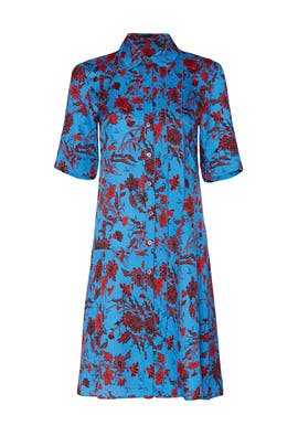 Floral Short Sleeve A-Line Shirtdress by DEREK LAM