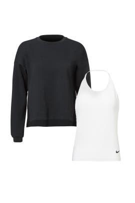 White Tank & Black Fleece Crew by Nike