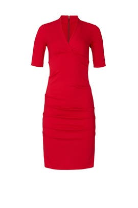 Red Solid Ponte Dress by Nicole Miller