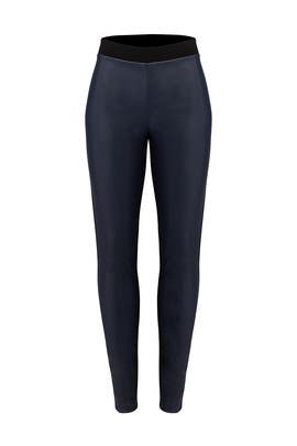 Navy Faux Leather Leggings by Slate & Willow