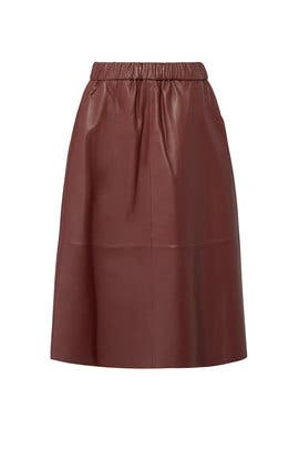 Wine Leather Midi Skirt by Bagatelle