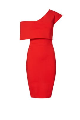 Red One Shoulder Popover Dress by ELLIATT