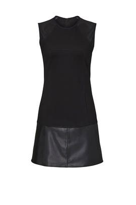 Black Faux Leather Trim Shift by KF/KaufmanFranco Collective