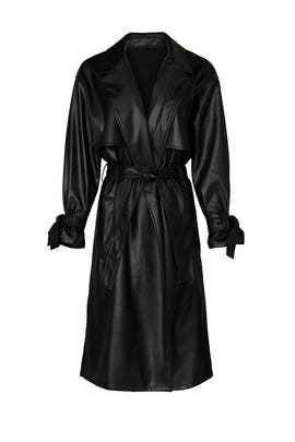 Black Faux Leather Trench Coat by Love, Whit by Whitney Port