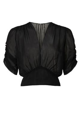 Sheer V Neck Top by Peter Som Collective