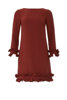 Burgundy Ruffle Shift by Sail to Sable