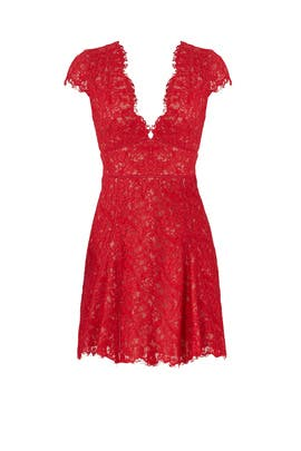 Red Visions Skater Dress by STYLESTALKER