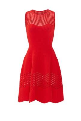 Red Sheer Zag Dress by Antonino Valenti