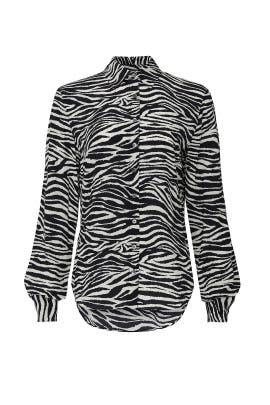 Kosma Slim Zebra Print Button Down Shirt by Derek Lam 10 Crosby