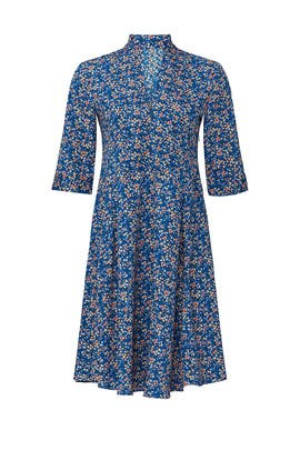 Blue Floral Scarf Neck Dress by Derek Lam Collective