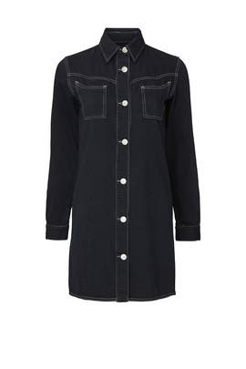 Black Denim Western Shirt Dress by GANNI