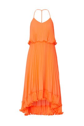 Pleated Burnout Georgette Dress by HALSTON