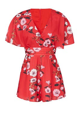 Red Floral Darkness Romper by Keepsake