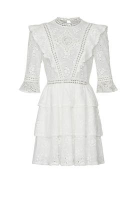 White Lace Ruffle Dress by The Kooples