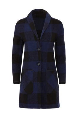 Blue Check Sweater Coat by Slate & Willow