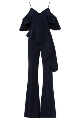 Navy Cold Shoulder Jumpsuit by Christian Siriano