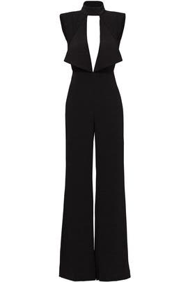 Black Open Neck Jumpsuit by Misha Collection